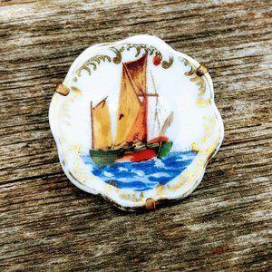Antique French Limoges Porcelain Plate Brooch